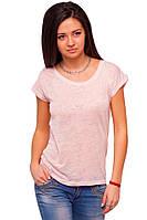 Розовая футболка женская без рисунка больших размеров летняя легкая с коротким рукавом вискоза (Украина)