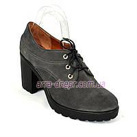 Женские серые замшевые туфли на шнуровке, устойчивый каблук