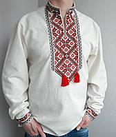 Мужская вышиванка из льна длинный рукав