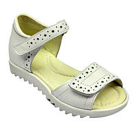 Белые кожаные босоножки для девочки Eleven Shoes