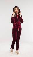 Женский модный костюм из велюра с капюшоном (расцветки)