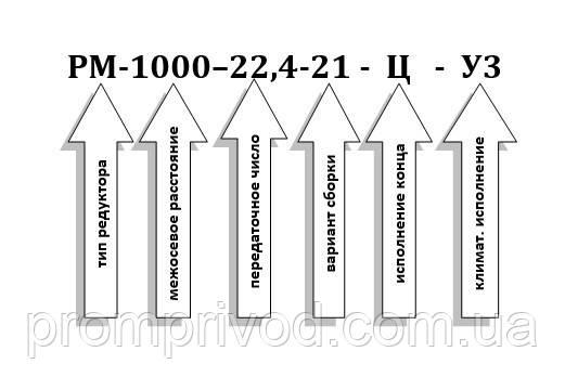 Условное обозначение редуктора РМ-1000-22,4