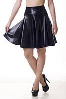 Модная женская юбка - клеш (солнце). Школьная, в университет, офис- Экокожа