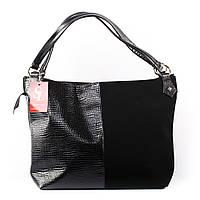 Черная большая сумка-мешок мягкая лак/замша