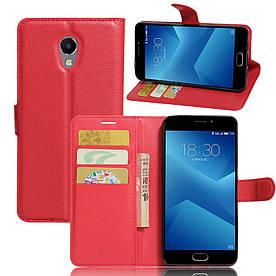 Чехол книжка для Meizu m5 Note боковой с отсеком для визиток, красный