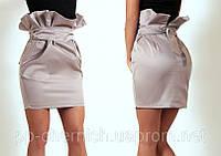 Стильная бежевая юбка с высокой талией