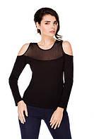 Глен черная блузка с открытыми плечами
