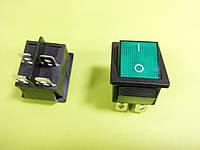 Кнопочный выключатель широкий 30,8 * 25,5мм ON-OFF, 4pin зеленый с подсветкой