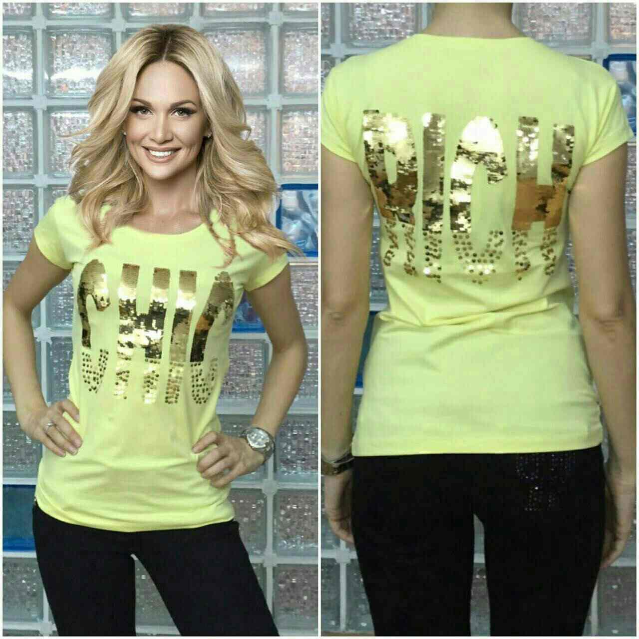 """Футболка женская Турция """"Chic"""" желтый"""