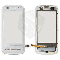 Сенсорный экран для мобильного телефона Nokia C6-00, с передней панелью, белый