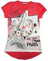 """Футболка для девочек с изображением Эйфелевой башни и надписью """"See you again in Paris""""  128-164 см."""