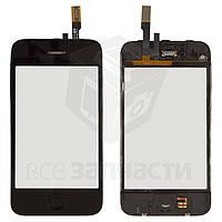 Сенсорный экран для мобильного телефона Apple iPhone 3G, с кнопкой HOME, с рамкой, черный