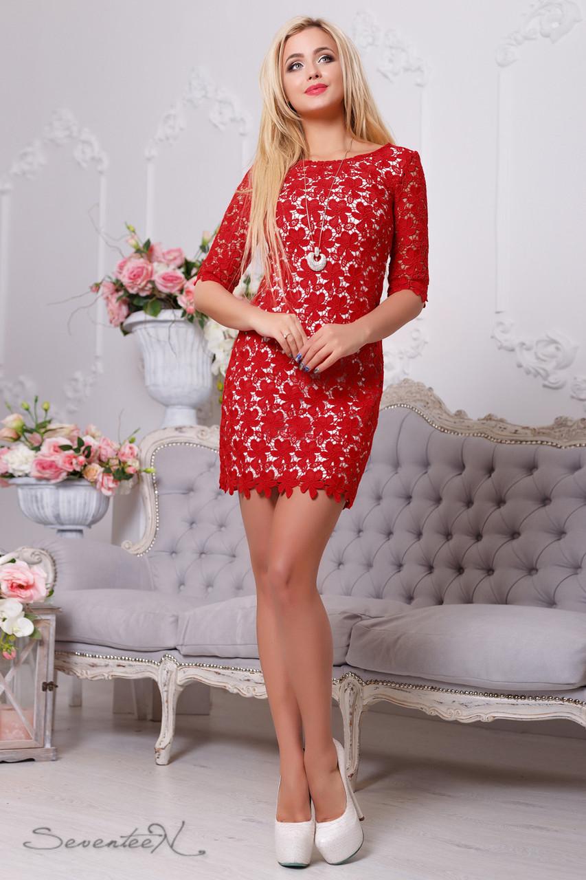 e0548f48f2eec0c Элегантное женское платье-футляр (итальянский гипюр-кружево, рукава 2/4,