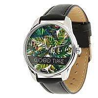 """Часы ZIZ """"Пальмовые листья"""" (черный, серебро)"""