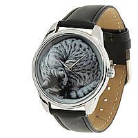 """Часы ZIZ """"Кот"""" (черный, серебро)"""