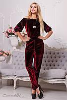 Роскошный женский комбинезон (стрейч-велюр, зауженные к низу, рукава 2/4, открытые плечи, декор) РАЗНЫЕ ЦВЕТА!