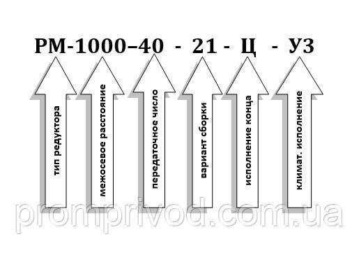 Условное обозначение редуктора РМ-1000-40