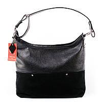 Женская черная сумка шоппер комбинированная замшей