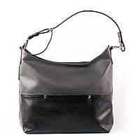 Сумка женская черно-серая мягкий мешок шоппер