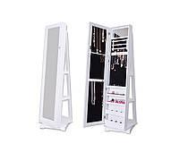 Вращающееся напольное белое зеркало с секцией для хранения украшений