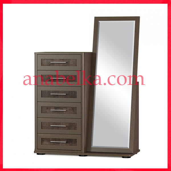 Комод  Токио 6Ш+ зеркало (Мебель Сервис)