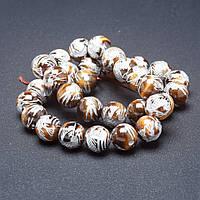 Бусины из натурального камня на нитке Серебристый дракон Тигровый глаз 12 мм