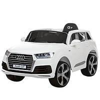 Детский электромобиль джип Audi Q7 JJ2188EBLR-1, колеса EVA, кож сидение,двери откр, белый