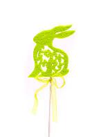 Кролик из фетра на шпажке, зеленый