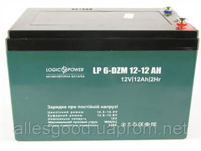 Аккумулятор тяговый 12V 12Ah LogicPower LP 6-DZM-12 F19 клеммы под винтик - Alles Good в Днепре