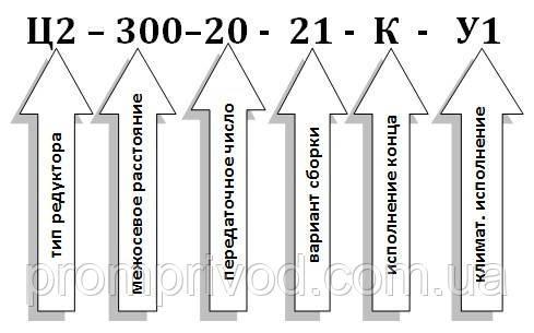 Условное обозначение редуктора Ц2-300