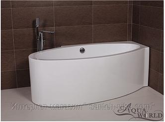 Ванна акриловая, угловой установки (правая) Дизайнерская Овальная ванна с переливом Aqua-World AW1048R