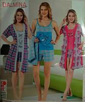 Комплект тройка,майка с шортами+халат, Турция
