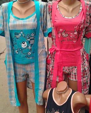 Комплект тройка,майка с шортами+халат, Турция, фото 2