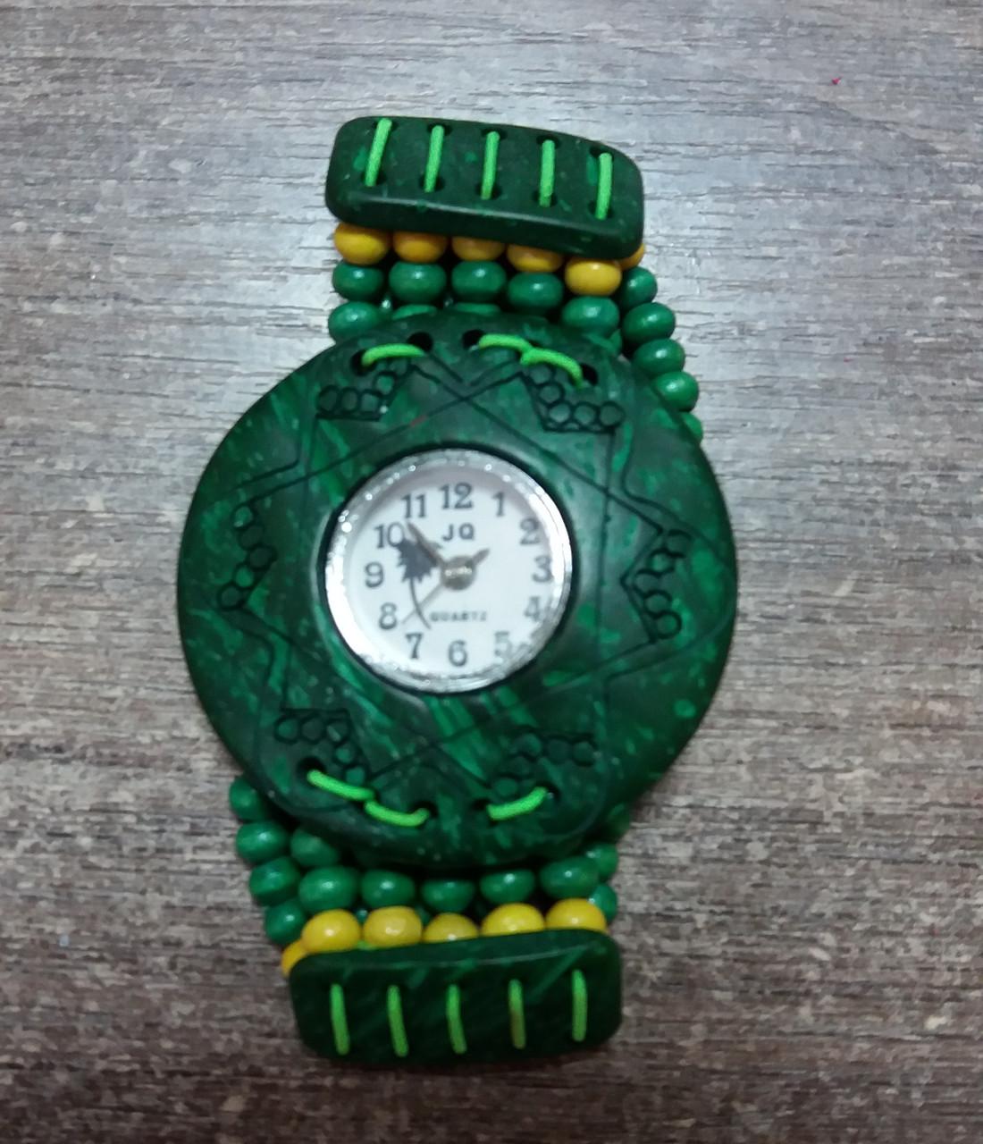 Часы женские браслет WOOD green-yellow