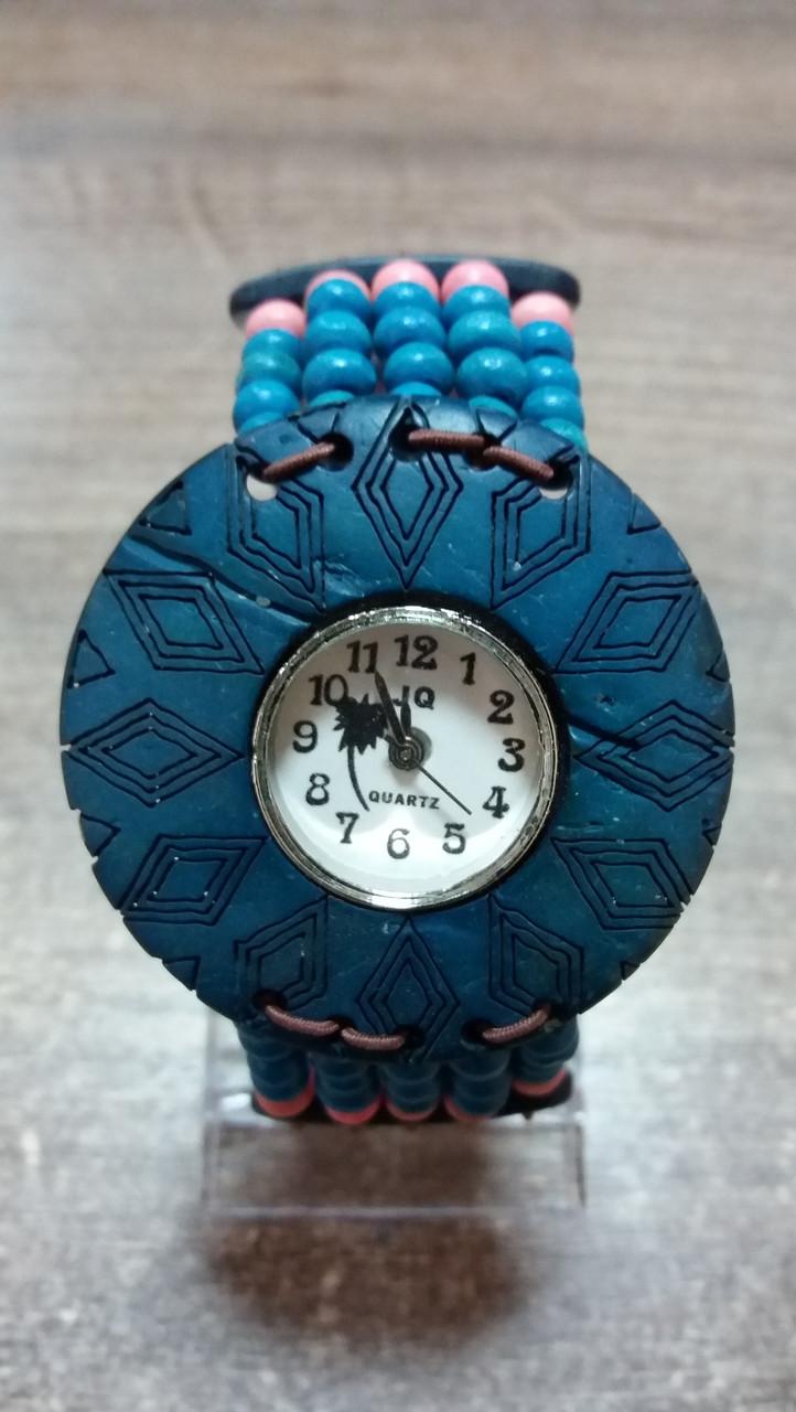 Годинники жіночі браслет WOOD blue-rose