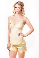 Домашний комплект женский желтая пижама женская шортики и маечка кружевная Украина