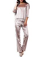 """Велюровый женский костюм """"Амита Беж"""" с брюками"""