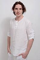 Рубашка льняная без ворота, с низким воротом, для полных и стандартных мужчин. Размер 42-74+, фото 1