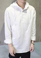 Рубаха мужская с капюшоном  из натруального льна, разные цвета, все размеры. Пляжная рубаха от ожегов