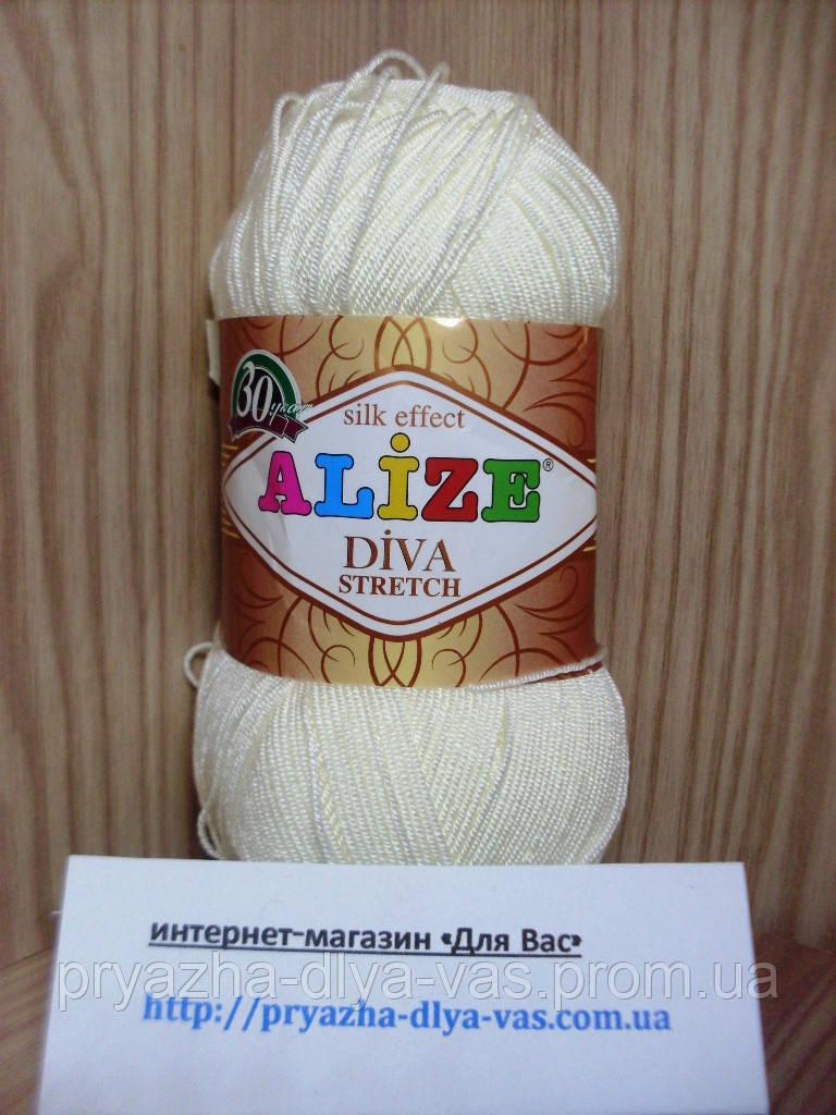 Пряжа микрофибровая(92%-микрофибра, 8%-эластик) Alize Diva Stretch 62 (кремовый)