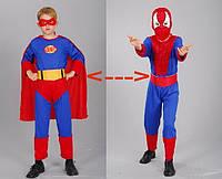 "Костюм ""Спайдермен-Супермен"", S/M/L (110-140см), трансформ., комбинезон/маска/ремень"
