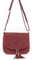 Удобная прочная вместительная женская наплечная сумочка почтальонка art. 007 красная