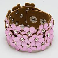 Браслет кожаный розовый цветочки