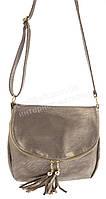 Удобная прочная вместительная женская наплечная сумочка почтальонка art. 007 бронза