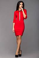 Эффектное  красное платье из легкого трикотажа Leo Pride