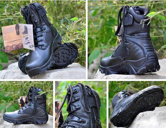 Черные кожа зам тактические ботинки берцы Delta Cordura, фото 2