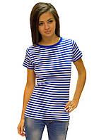 Полосатая футболка тельняшка женская летняя с коротким рукавом хлопок хб синий белый трикотажная (Украина)