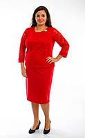 Платье женское, ткань- французский трикотаж +гипюр, размеры с 52 до 58