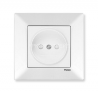 VIKO Розетка 1 скр. со шторками Meridian (Белая) 90970043-WH