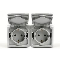 LEGRAND Механизм розетки 2X2К+З со шторками IP44 Серый Forix 782394